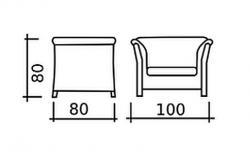 schema s rozměry šířka 100cm hloubka 80cm výška 80cm