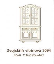 Rustikální dvojskříň s vitrínou 3094