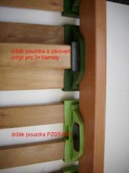 příklad použití držáků pouzder<br/>na obrázku lze vidět použití držákun pouzdra  a  držáku pouzdra s úchytem třetí spodní lamely