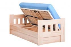 Arleta Komplet buk otevřená<br/>sestava postele ARLETA + úložný prostor s lamelovým roštem s bočním otvíráním  na obrázku je vidět šikovný přístup do úložného prostoru,soušástí roštu jsou plynové vzpěry usnadňující otvírání roštu matrace není součástí postele