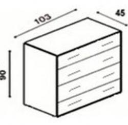 Komoda buk 4 zásuvky, velká schema