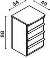 Komoda buk 4 zásuvky, malá - schema