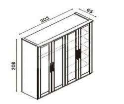 Šatní skříň P4 DDDD Petra schéma